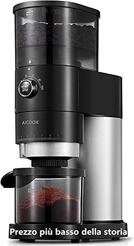Kaffeemühle Elektrisch | AICOOK Elektrische Kaffeemühle mit Kegelmahlwerk in Edelstahl | Verstellbare...
