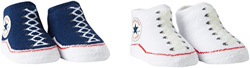 Converse Unisex Baby, Socken, 2 Pack Booties 0-6 Monate ,Blau (althletic Navy/converse White)