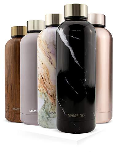 MAMEIDO Trinkflasche Edelstahl - Marmor Schwarz - 750ml, 0,75l Thermosflasche - auslaufsicher, BPA frei -...