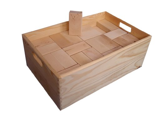 """baukid Holzbauklötze """"Kiste 80"""", stabile Geschenkekiste mit 80 Bauklötzen für Kindergarten- und..."""