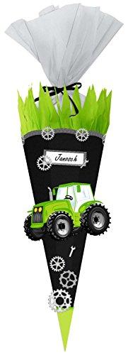 Ursus 9870004 Bastelset Easy Line Schultüte Traktor, sechseckige Zuckertüte 68 cm hoch und oben 20 cm breit...