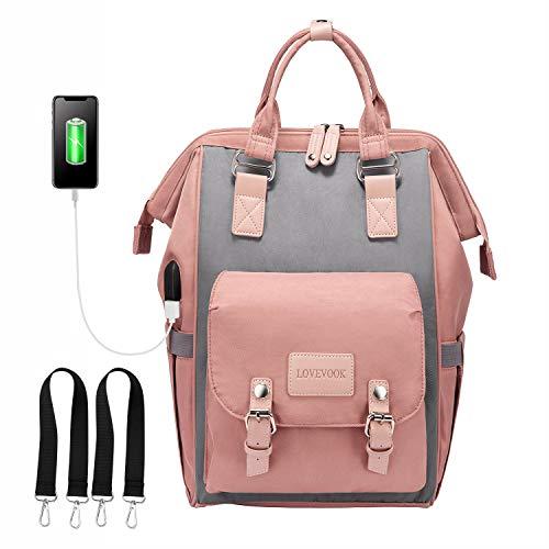 Babytasche Wickeltasche, LOVEVOOK Wickelrucksack Rosa Groß mit USB Ladeanschluss, Wasserdicht Babyrucksack...