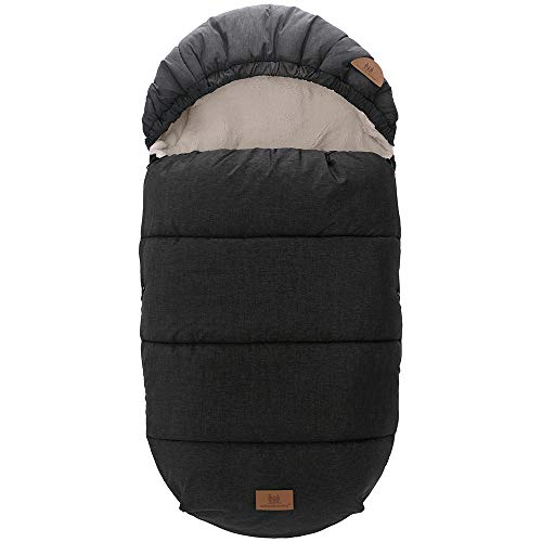 Baby Fußsack Babyschale Schlafsack Winterfußsack Kinderwagen Buggy Winter (90X48CM, schwarz)