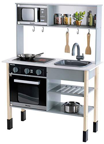Theo Klein 7199 Miele Küche I Weiße Holzküche inkl. Kochfeld mit Sound- und Licht I Maße: 70 cm x 30 cm x...