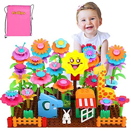 Fivejoy Blumengarten Spielzeug, DIY Bouquet Tier Sets 124pcs mit Elefanten / Giraffen/ Kaninchenmodell,...