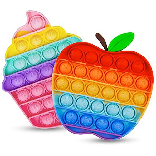 Push Bubble Pop Blase Fidget Sensory Spielzeug 2 Satz Regenbogen Fidget Popper für Kinder Stress-Angst Relief...