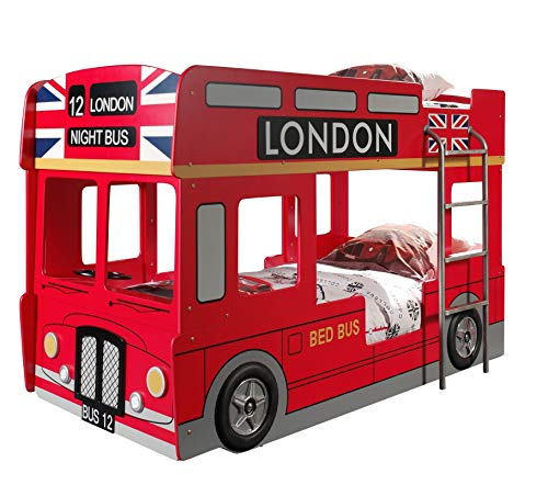 Vipack SCBBLB Autobett London Bus Etagenbett, Circa 215 x 132 x 100 cm, 2 Liegeflächen 90 x 200 cm, lackiert...