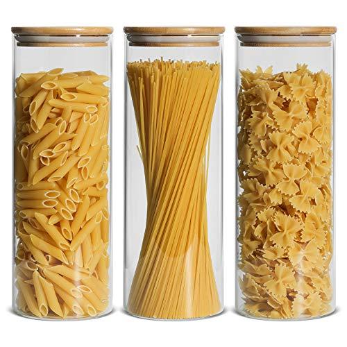 ComSaf 2200ml Luftdichter Vorratsglas 3er-Set, Φ10cm Spaghetti Glasbehälter Vorratdosen aus Borosilikatglas...