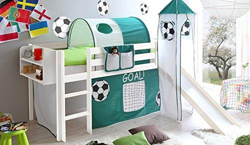 lifestyle4living Hochbett für Kinder in grün-Weiss mit Rutsche, Turm und Vorhang im Fussball Motiv |...