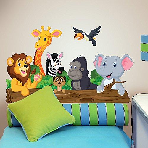 R00145 Wandaufkleber Tiere Dschungel Savannah Wanddekoration Kinderzimmer Kindergarten Nest Schlafzimmer -...
