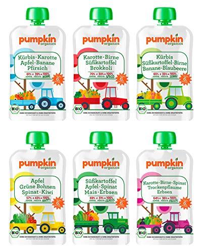 Bio Gemüse Quetschies - Pumpkin Organics ERSTE LIEBE (24 x 100g) + 1 Löffelaufsatz - Snacks für Babys ab 6....