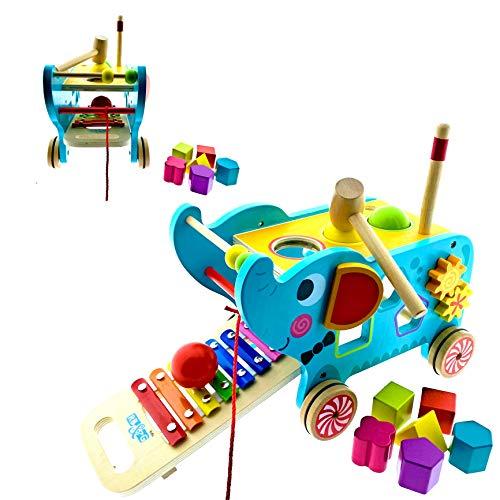 RB&G Activity Elephant 3 in 1 Lernspielzeug / zum Nachziehen / aus Holz / Farbecht