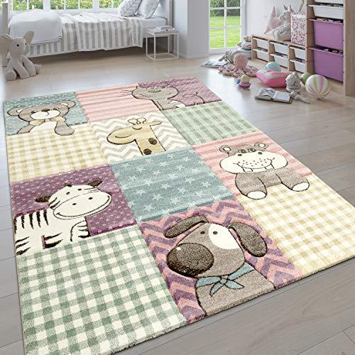 Paco Home Kinderteppich, Moderner Kinderzimmer Pastell Teppich, Niedliche 3D Tiermotive, Grösse:80x150 cm,...