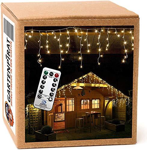 240 LED Lichterkette Eisregen warmweiß 6m Timer Programme Fernbedienung - Kabel weiß