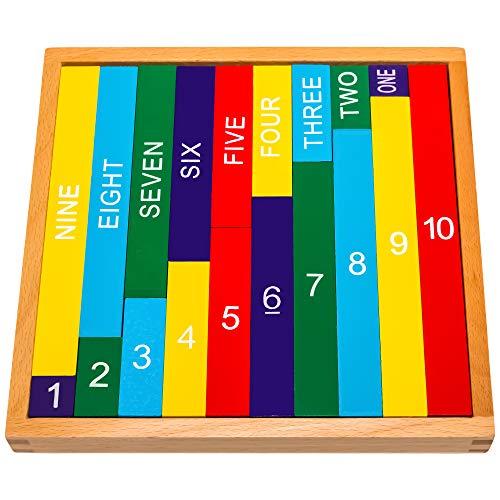 Natureich Zehnertafel Montessori Mathematik Spielzeug aus Holz zum Zahlen 1-10 Lernen mit Zahlenbalken Schrift...