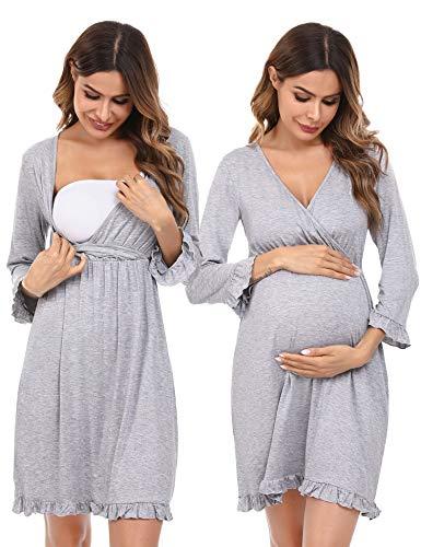 Doaraha Umstandsnachthemd Stillnachthemd Still Nachthemd für Geburt Mutterschaft Schwangerschaft Geburtshemd...