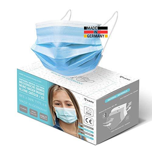 HARD 50x Kinder Medizinischer Mundschutz TYP IIR OP-Maske Made in Germany, CE zertifiziert EN14683, BFE...