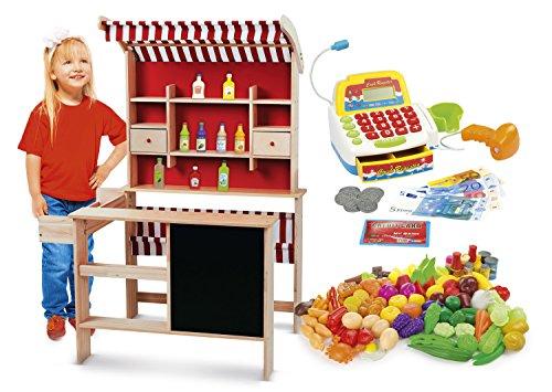 LEOMARK Kaufladen aus Holz - SUPERMARKET - inklusive Kaufladenzubehör, Verkaufsstand mit Verkaufsregal,...