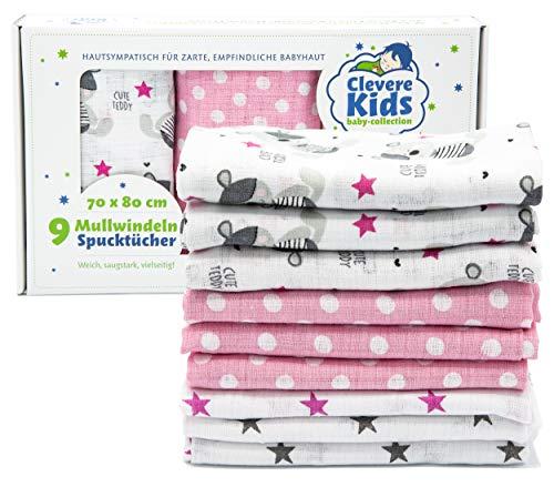 Clevere Kids Mulltücher | 9er-Pack Geschenkset | bedruckt | OEKO-TEX | doppelt gewebt | 70x80 | Spucktücher...
