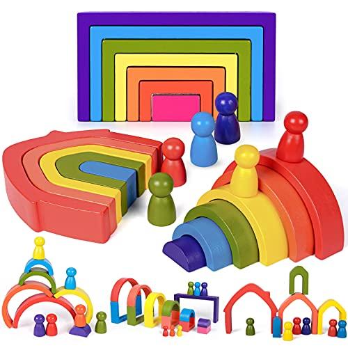 Regenbogenstapler aus Holz Puzzle Stapelspiel Holz Montessori Spielzeug für Kleinkinder Kinder Baby Jungen...