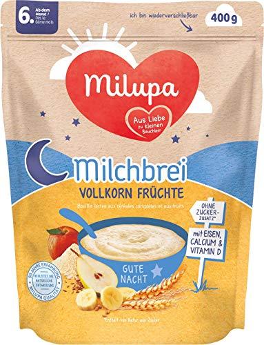 Milupa Milchbrei Vollkorn Früchte Gute Nacht ab dem 6. Monat, 4er Pack (4 x 400 g)  154135