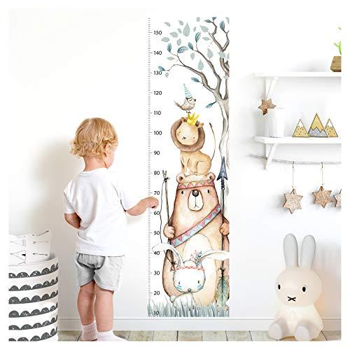 Little Deco Wandaufkleber Kinderzimmer Junge Mädchen Messlatte | 150cm Bär Hase Löwe Vogel | Tiere...