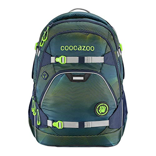 coocazoo Schulrucksack ScaleRale Soniclights Green blau-grün, ergonomischer Tornister, höhenverstellbar mit...