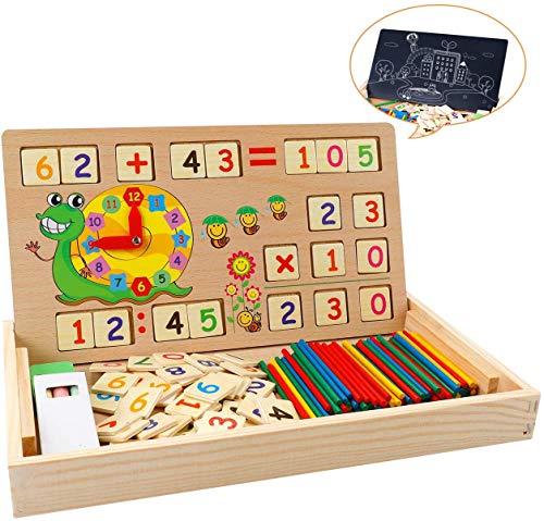 Babyhelen Montessori Mathe Spielzeug aus Holz Lernbox Zahlenlernspiel mit Zeichnung Holzbrett Lernspielzeug...