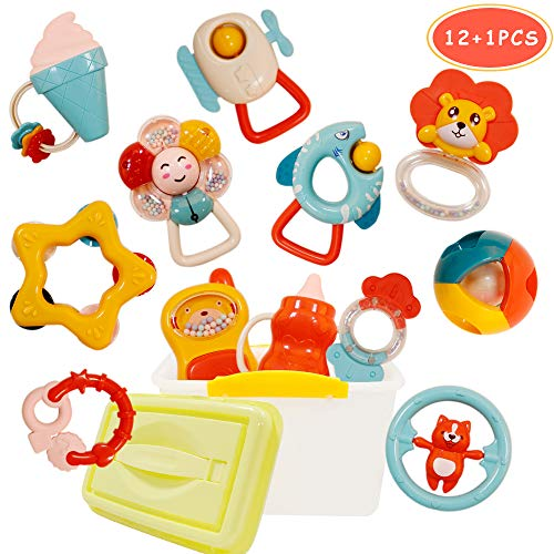 WISHTIME Rassel Beißring Set Baby Spielzeug - 12 STK Shaker Greifen Rassel Baby Kleinkind Neugeborenen...