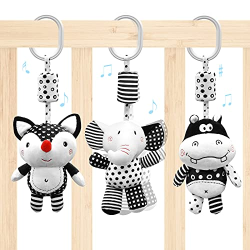 Euyecety Baby Spielzeug Kinderwagen Spielzeug, Weiß & Schwarz Hängende Rasseln Spielzeug mit Glöckchen,...