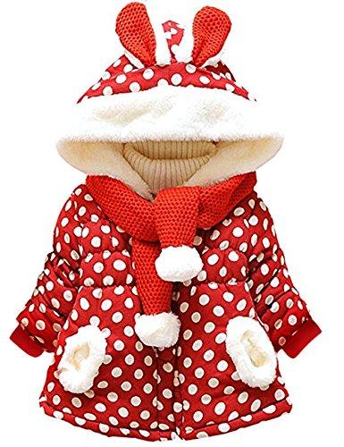 Little Hand Baby-Mädchen Jacke Dot Bedruckt Mantel Born Bekleidung,Rot, EU 98(2-3 Jahre)=Tag 12