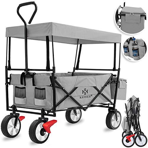 KESSER® Bollerwagen faltbar mit Dach Handwagen Transportkarre Gerätewagen | inkl. 2 Netztaschen und Einer...