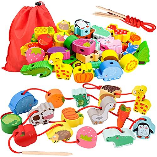 Geschenk für 1-3 Jährige Mädchen Junge, Holzspielzeug Threading Toy Geburtstagsgeschenk für 1 2 3 Jährige...