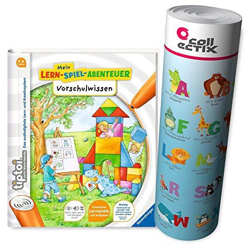 Ravensburger tiptoi® Schule Buch | Vorschulwissen - Mein Lern-Spiel-Abenteuer + ABC Alphabet Lern-Poster mit...