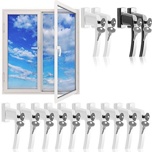 Fenstergriffe abschließbar 10x weiß Aluminium Fenstersicherheitsgriff Kindersicherung Fenstersicherung...
