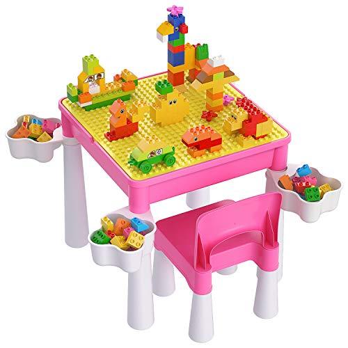 burgkidz Kindertisch mit 1 Stühle mit Stauraum, Maltisch Kindersitzgruppe Kindersitzgarnitur Tisch und Stuhl...