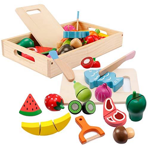 Spielküche Zubehör, Kinderküche Zubehör Holz, Küche Kinder Holzspielzeug, Obst Gemüse und Fleisch...