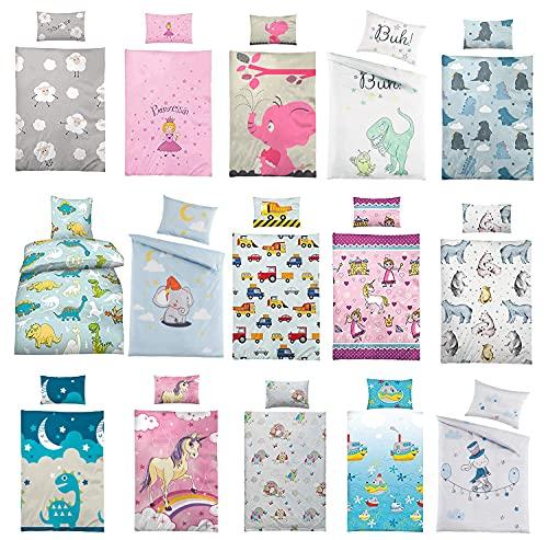 Kinder Bettwäsche 100 x 135 cm + Kissen 40 x 60 cm 100% Baumwolle, mit verschiedenen Motiven -...