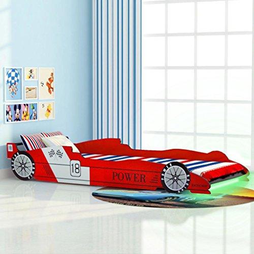 vidaXL Kinderbett LED Rennwagen-Design 90x200cm Rot Autobett Jugendbett Bett