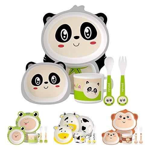 H HOMEWINS Kindergeschirr 5-teilig Nette Panda-Form Umweltfreundlich Bambus Kinder Geschirr Set für Babys ab...