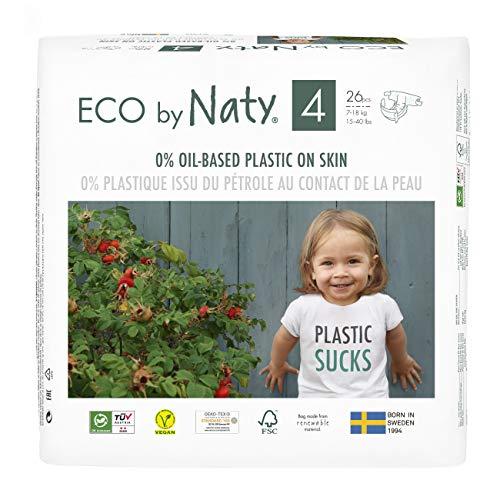 Eco by Naty, Größe 4, 156 Windeln, 7–18 kg, MONATSVORRAT, pflanzliche Premium-Bio‑Windeln mit 0% Plastik...
