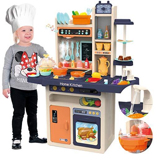 Kinderplay Kinderküche Spielküche Spielzeugküche Küchenset - Licht, Wasser, Dampf, Ton, 65...