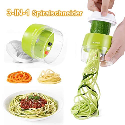 Adoric Spiralschneider Hand [ 3 in 1 ] Gemüse Spiralschneider, Gemüsehobel Gemüsenudeln Schneider für...
