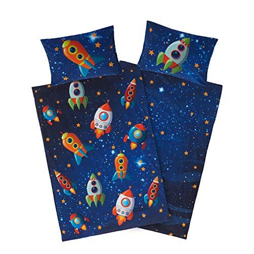 Aminata Kids süßes Bettwäsche-Set Weltall Jungen 100x135 cm + 40 x 60 cm aus Baumwolle mit Reißverschluss,...