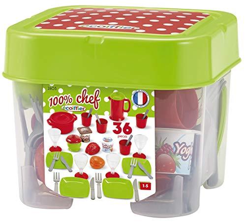 Ecoiffier - 32tlg. Spielgeschirr für Kinder - ideales Zubehör für Kinderküche, inkl. Teller, Besteck,...