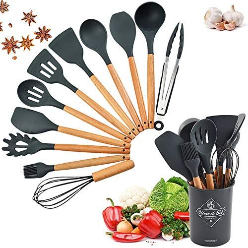 Cozywind Küchenhelfer Set Silikon 12 Stücke küchenutensilien Set mit Halter Kochgeschirr Set mit Holzgriff...