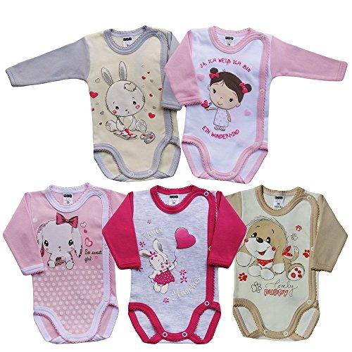 MEA BABY Unisex Baby Langarm Wickelbody mit Aufdruck 5er Pack. Baby Wickelbody Jungen Baby Wickelbody Mädchen...
