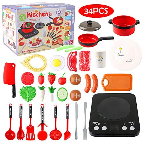Küchenspielzeug, Kinderküche Zubehoer mit Töpfe und Pfannen Set Realistischer Licht & Sound...
