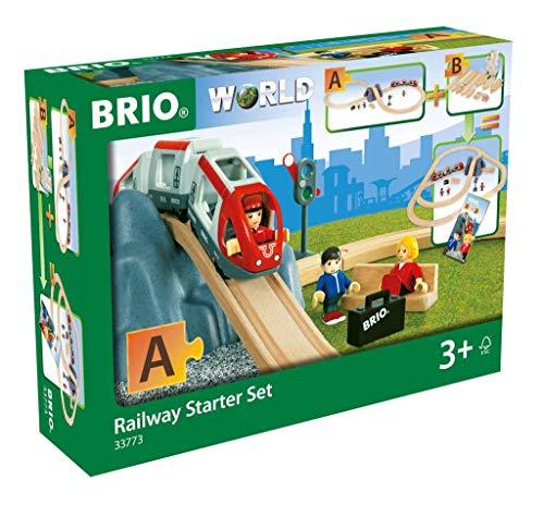 BRIO World 33773 Eisenbahn Starter Set A – Die ideale erste Holzeisenbahn mit Tunnel und Figuren –...