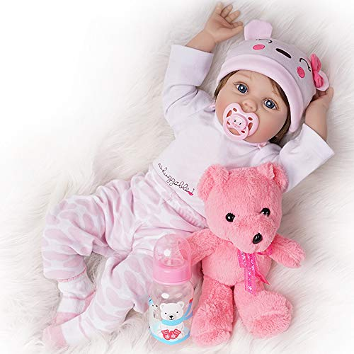 Yesteria Lebensechte Reborn Babypuppe Mädchen Silikon Weiß und Rosa Outfit 55 cm